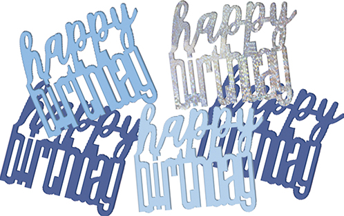 Birthday Blue Glitz Confetti Happy Birthday