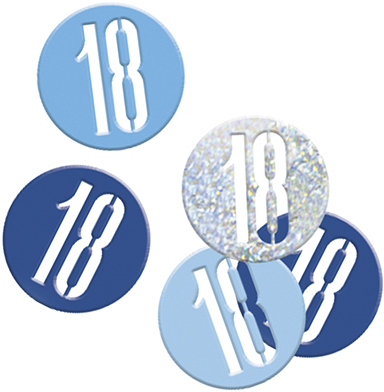 Birthday Blue Glitz Confetti Number 18