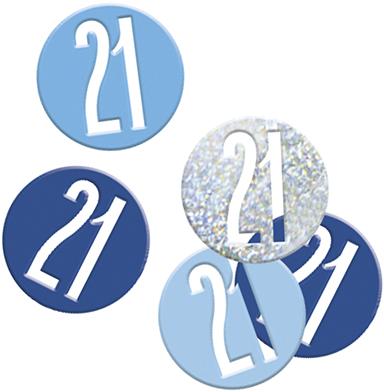 Birthday Blue Glitz Confetti Number 21