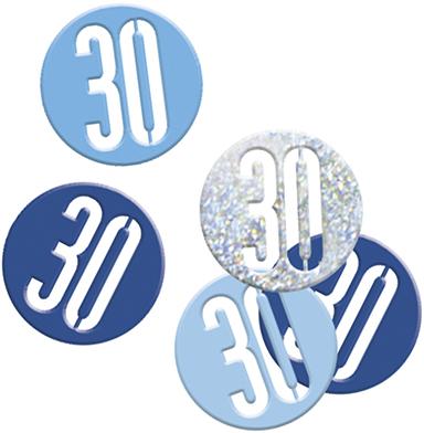 Birthday Blue Glitz Confetti Number 30