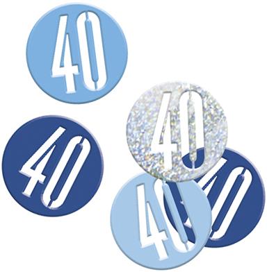 Birthday Blue Glitz Confetti Number 40