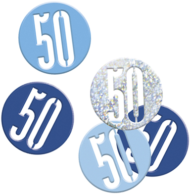 Birthday Blue Glitz Confetti Number 50