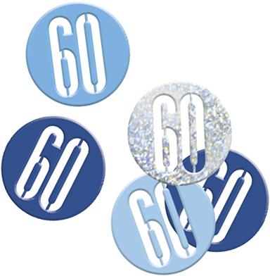 Birthday Blue Glitz Confetti Number 60