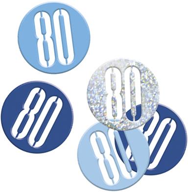 Birthday Blue Glitz Confetti Number 80
