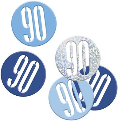 Birthday Blue Glitz Confetti Number 90