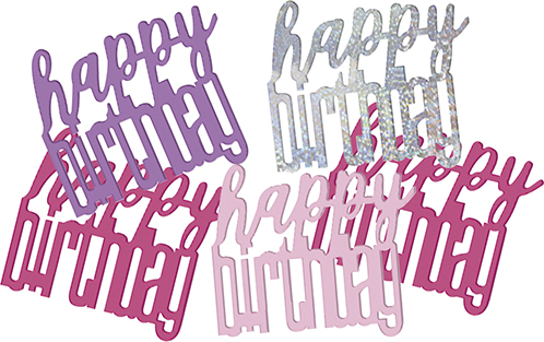 Birthday Pink Glitz Confetti Happy Birthday