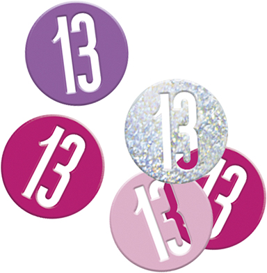 Birthday Pink Glitz Confetti Number 13