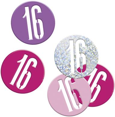 Birthday Pink Glitz Confetti Number 16