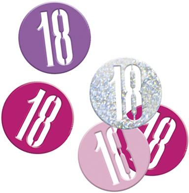 Birthday Pink Glitz Confetti Number 18