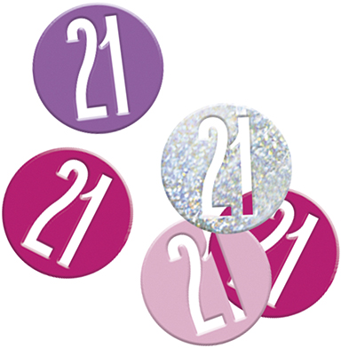 Birthday Pink Glitz Confetti Number 21