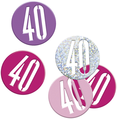 Birthday Pink Glitz Confetti Number 40