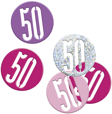Birthday Pink Glitz Confetti Number 50