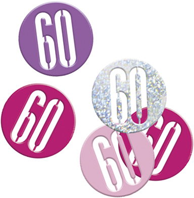 Birthday Pink Glitz Confetti Number 60