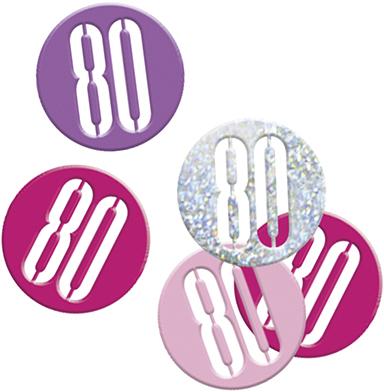 Birthday Pink Glitz Confetti Number 80