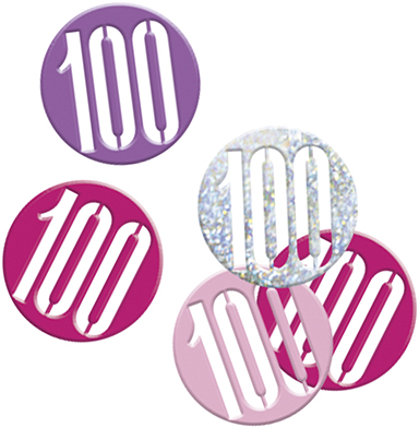 Birthday Pink Glitz Confetti Number 100