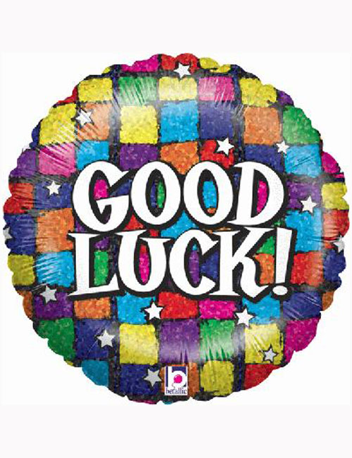 "18"" Good Luck Squares Holographic Balloon."