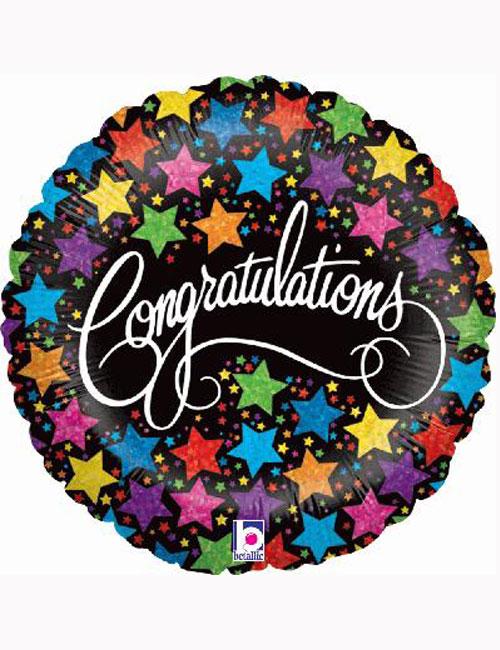 "18"" Congratulations Bold Stars Balloon"