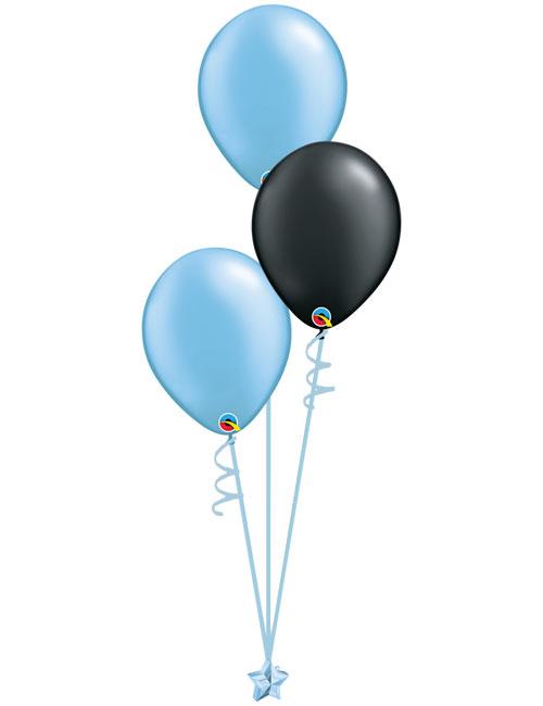 Set 3 Latex Balloons Light Blue Black