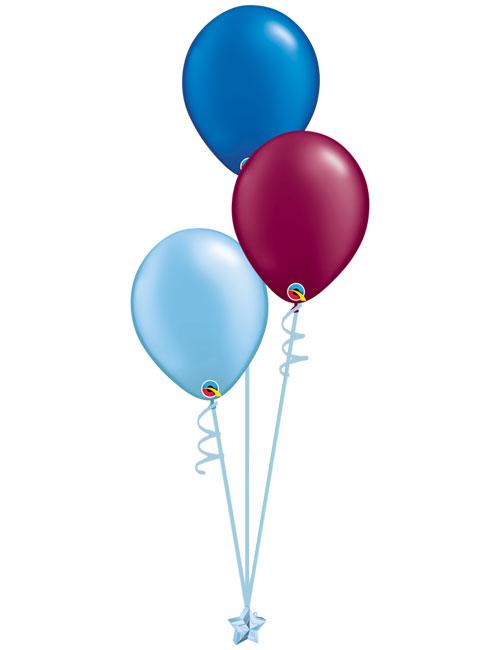 Set 3 Latex Balloons Light Blue Burgundy Blue