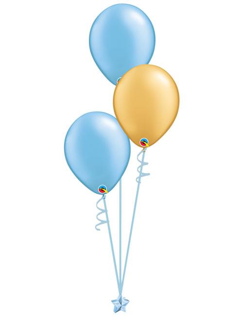 Set 3 Latex Balloons Light Blue Gold