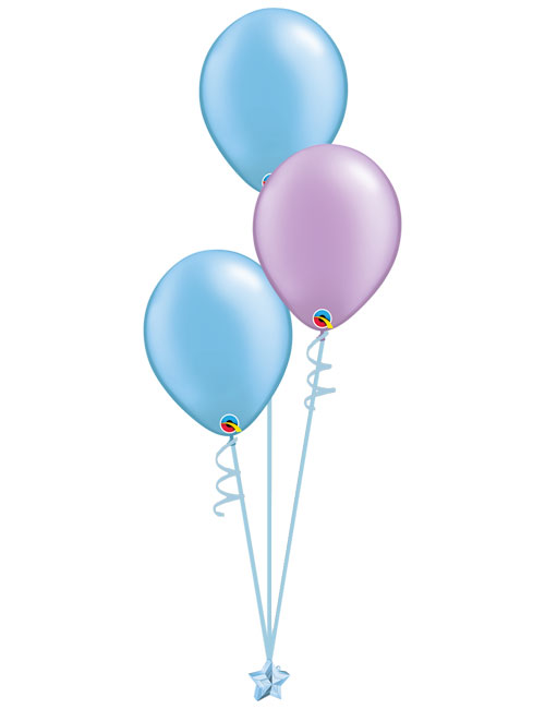 Set 3 Latex Balloons Light Blue Lavender