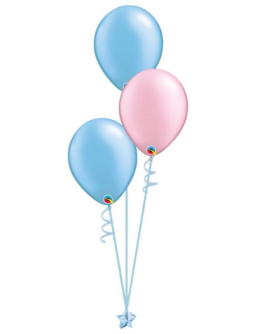 Set 3 Latex Balloons Light Blue Light Pink