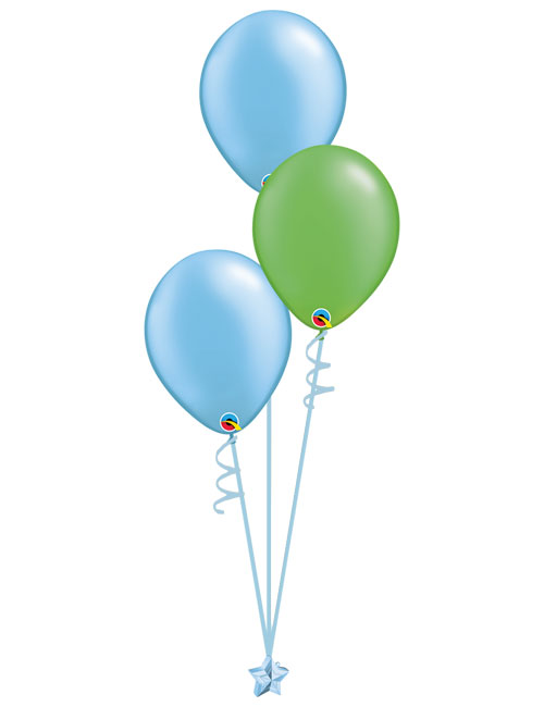Set 3 Latex Balloons Light Blue Lime Green