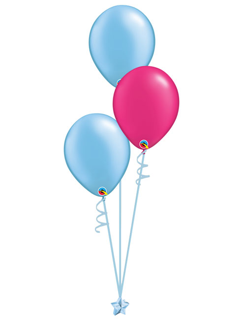 Set 3 Latex Balloons Light Blue Magenta