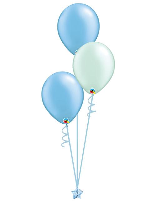 Set 3 Latex Balloons Light Blue Mint