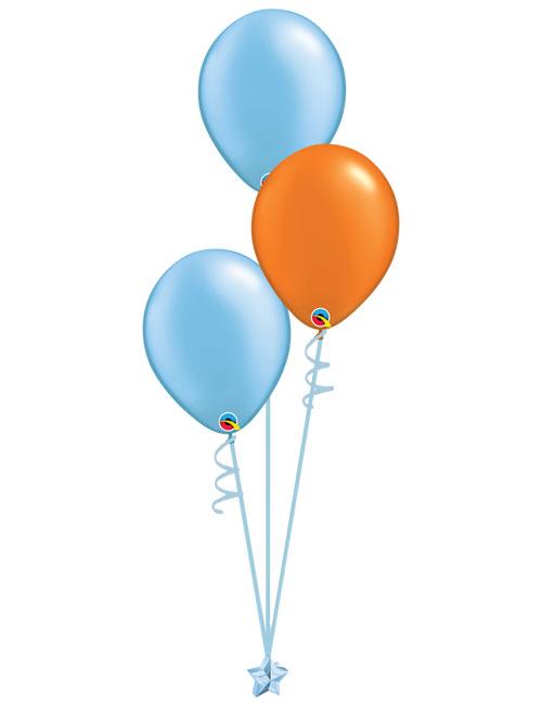 Set 3 Latex Balloons Light Blue Orange