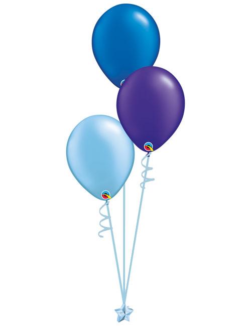 Set 3 Latex Balloons Light Blue Purple Blue