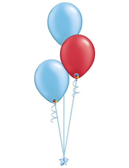 Set 3 Latex Balloons Light Blue Red