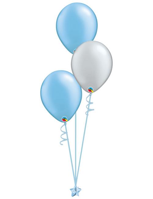 Set 3 Latex Balloons Light Blue Silver