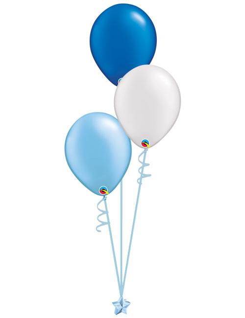 Set 3 Latex Balloons Light Blue White Blue