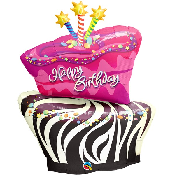birthday funky zebra stripe cake shape balloon