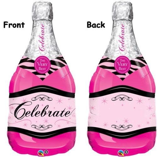 celebrate pink bubbly wine bottle shape balloon