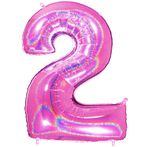 "40"" Glitter holographic Fuchsia Number 2 Foil Balloon"