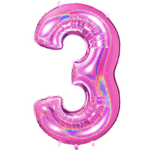 "40"" Glitter Holographic Fuchsia Number 3 Foil Balloon"