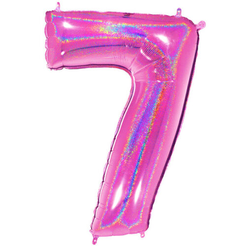 """40"""" Number 7 Fuchsia Holographic Glitter Foil Balloon"""