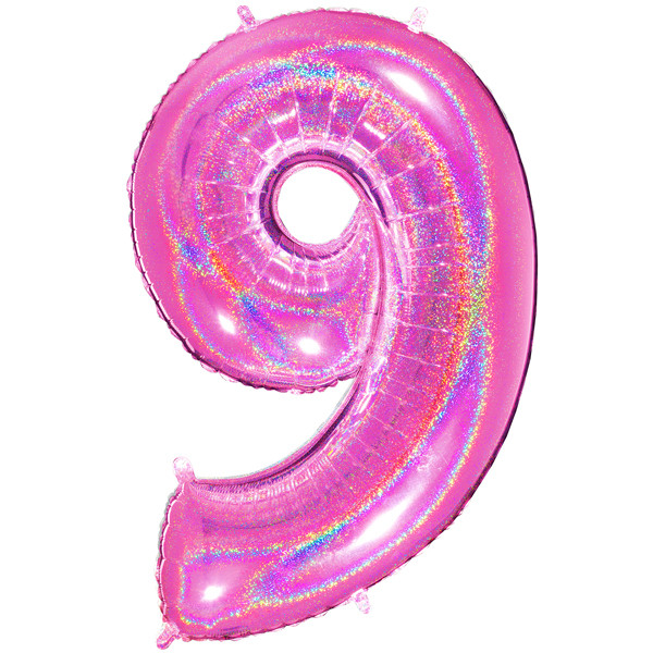 "40"" Glitter Holographic Fuchsia Number 9 Foil Balloon"