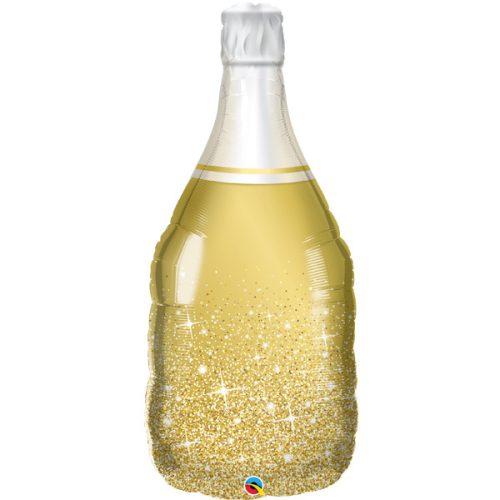 golden bubbly wine bottle shape balloon