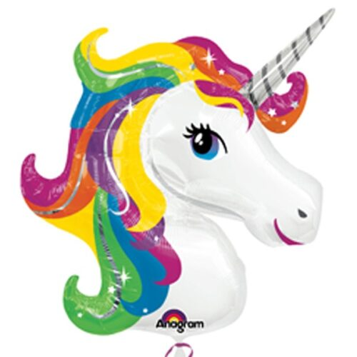 rainbow unicorn shape balloon