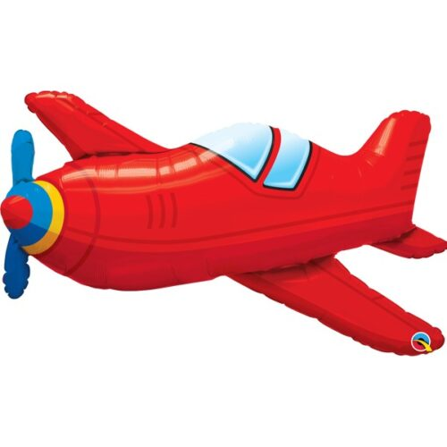 red vintage airplane shape balloon