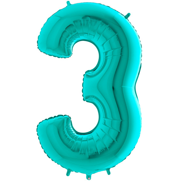 """40"""" Tiffany Number 3 Foil Balloon"""