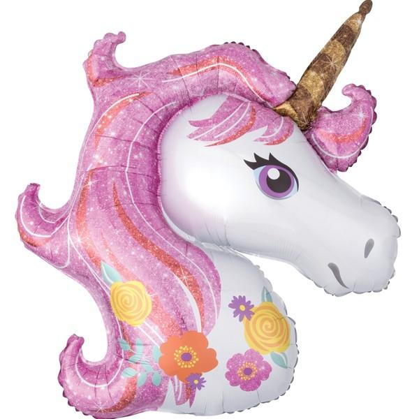 unicorn head pastel shape balloon