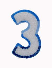 Blue Number 3 Candle