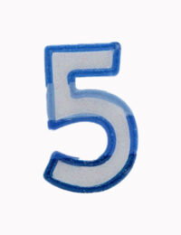 Blue Number 5 Candle