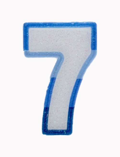 Blue Number 7 Candle