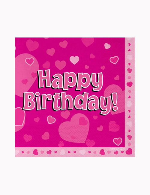 Happy Birthday Pink Napkins