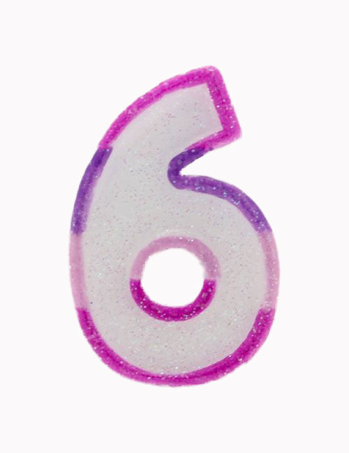Pink Number 6 Candle